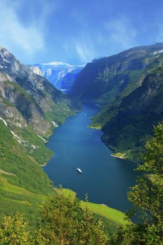Der Nærøyfjord von oben