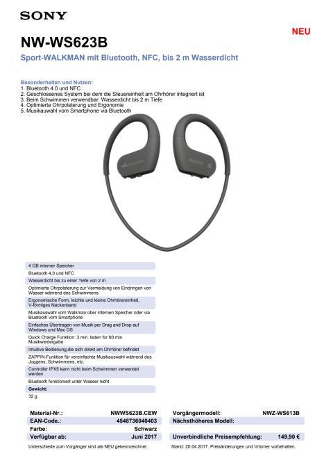 Datenblatt WALKMAN NW-WS623 von Sony