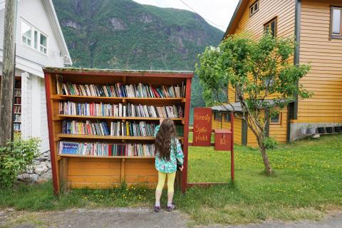 Im norwegischen Bücherdorf Fjærland sind die Straßenränder gesäumt mit Bücherregalen.