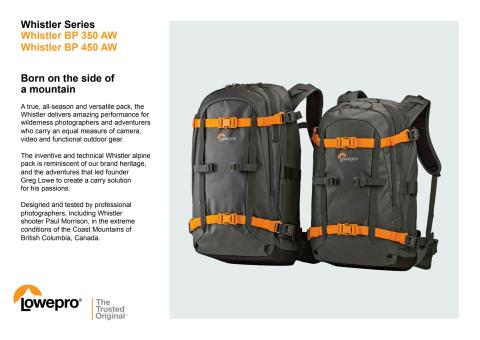 Lowepro Whistler, produktspecifikation