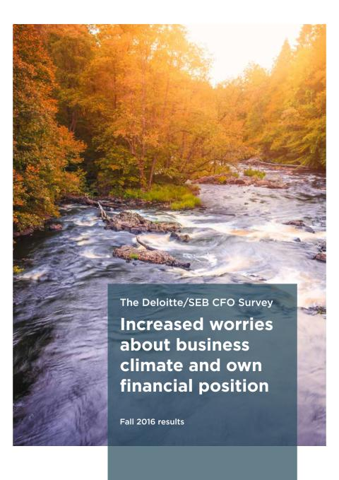The Deloitte/SEB CFO Survey Fall 2016