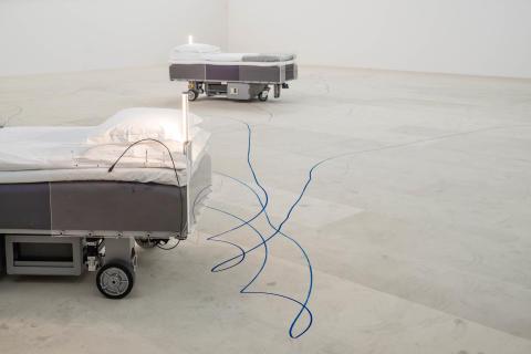 Carsten Höller, Two Roaming Beds (Grey), 2015