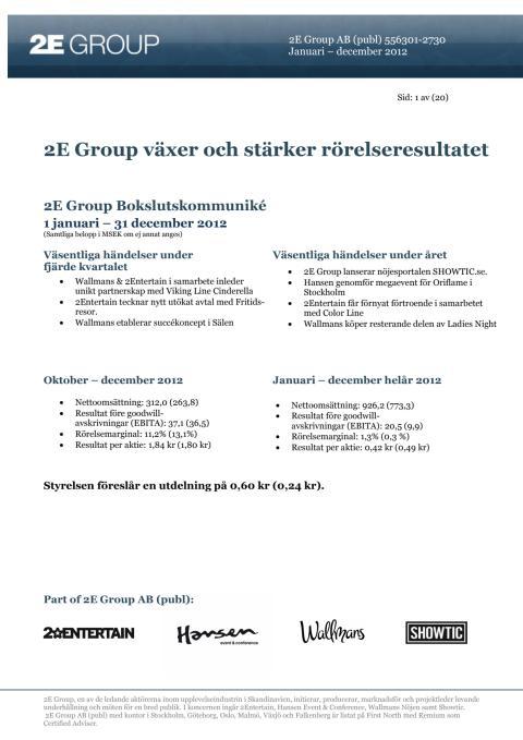 2E Group Bokslutskommuniké 2012