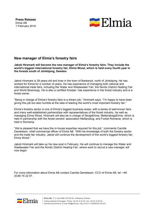 New manager of Elmia's forestry fairs, Press Release, English version