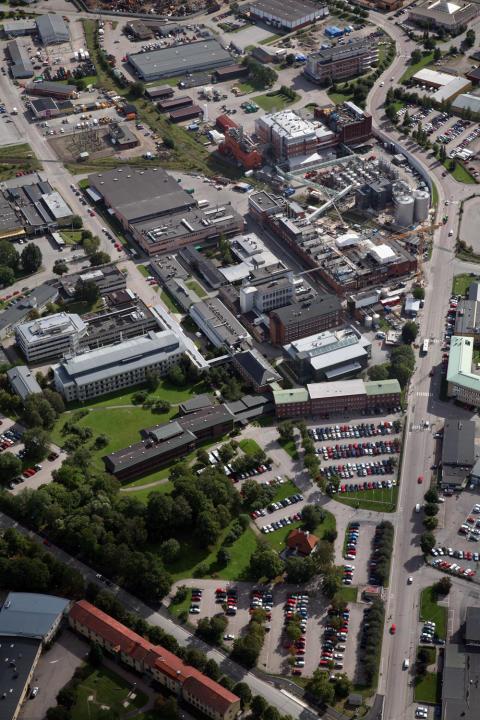 Flygbild GE Healthcare, Uppsala