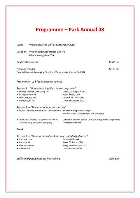 Program Park Annual 2008