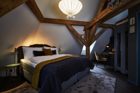 Bed at Spedition Hotel, Thun, Switzerland - hotel design by Stylt