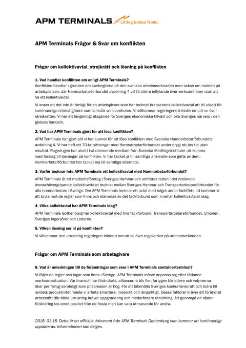 APM Terminals Frågor & Svar om konflikten