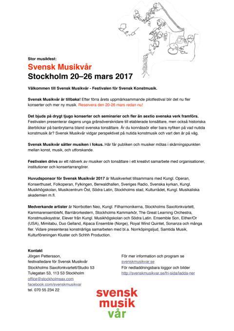 Stor musikfest: Svensk Musikvår Stockholm 20–26 mars 2017