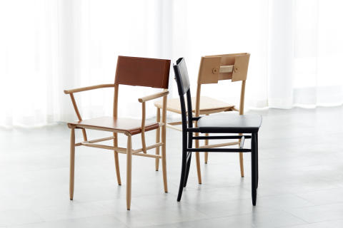 Chair and armchair MADONNA in leather  design David Ericsson