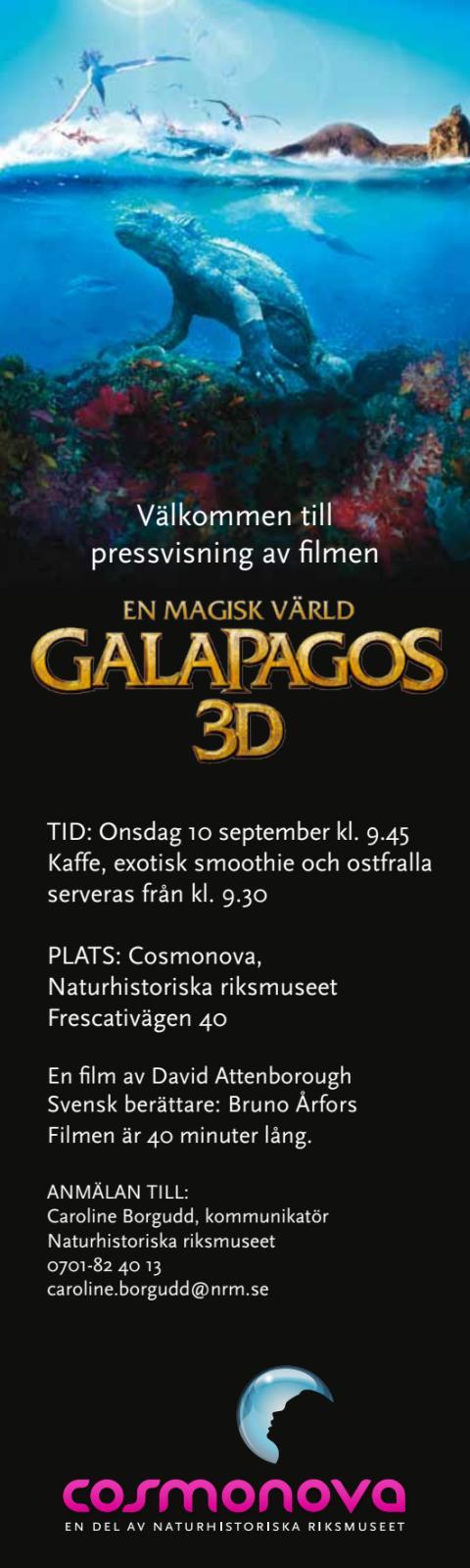 Inbjudan pressvisning Galapagos 3D på Cosmonova