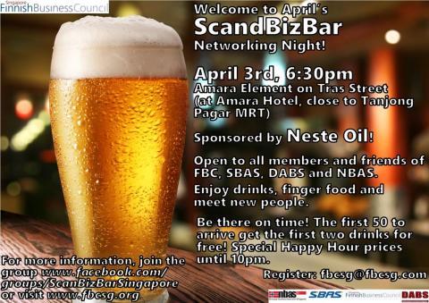 ScandBizBar Networking Night, Thursday 3 April 18.30 at Amara Element