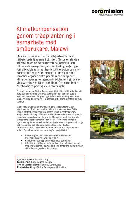 Klimatkompensation genom trädplantering i samarbete med småbrukare, Malawi