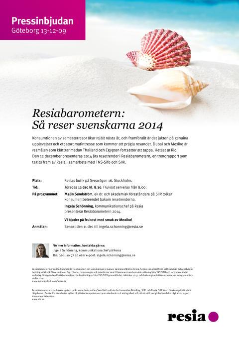 Välkommen på pressfrukost och trendspaning: Så reser svenskarna 2014