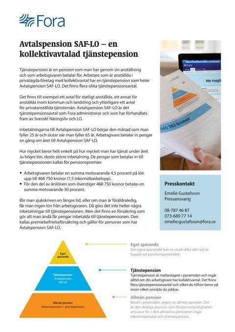 Avtalspension SAF-LO - en kollektivavtalad tjänstepension