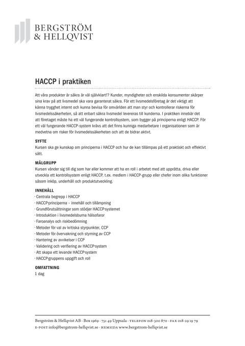 HACCP i praktiken