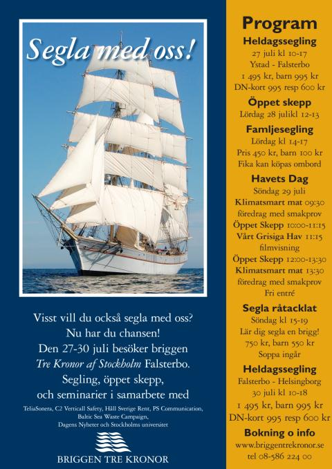 Program Briggen Tre Kronor i Falsterbo 27-30 juli 2012