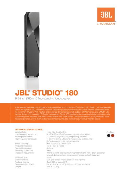 Specification sheet - JBL Studio 180 (English)