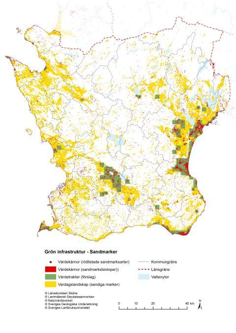 Karta över de mest värdefulla sandmarkerna i Skåne (ur handlingsplanen)