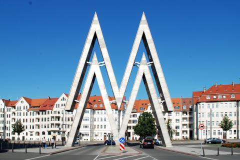 Das Doppel-M auf dem Gelände der Alten Messe