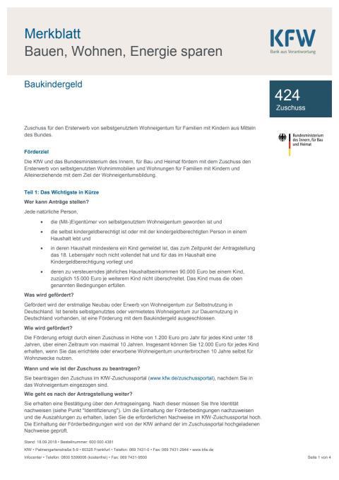 Merkblatt KfW-Bank