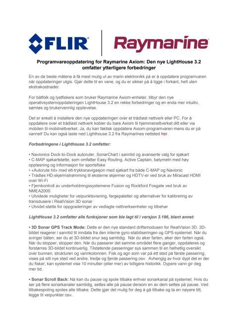 Raymarine: Programvareoppdatering for Raymarine Axiom: Den nye LightHouse 3.2 omfatter ytterligere forbedringer