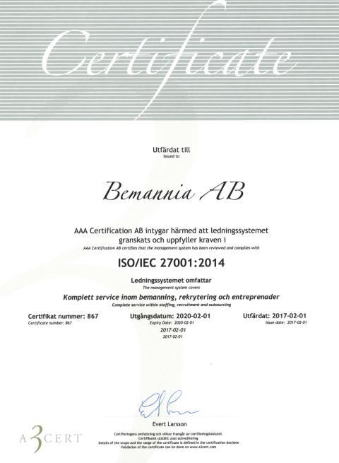 Bemannia ISO-certifierad för informationssäkerhet