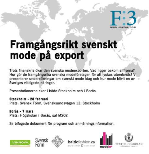 Seminarie Borås: Framgångsrikt svenskt mode på export