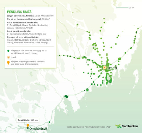 Pendlingsbara Sverige: Här kan man bo och pendla till Umeå