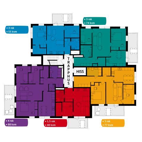 Våningsplanskiss Uggleberget hus 1-7