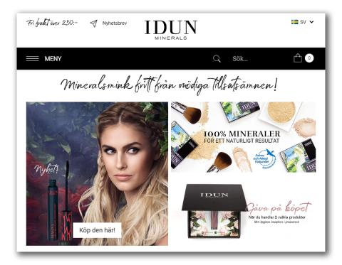 IDUN Minerals lanserar ny E-handelsplattform för rent mineralsmink.