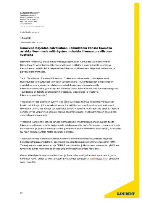 Ramirent Finland Oy on solminut yhteistyösopimuksen Ramudden Oy Ab:n