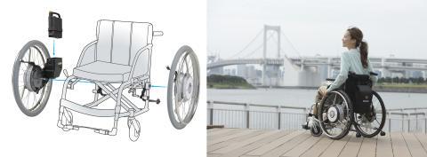 電動アシスト車いすに世界初の片流れ制御を搭載 ひと漕ぎあたりのアシスト走行距離を従来モデル比 最小0.1倍~最大2倍まで実現