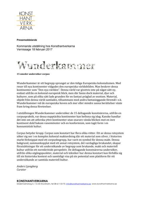 Pressmeddelande Wunderkammer - 15 perspektiv på corpus