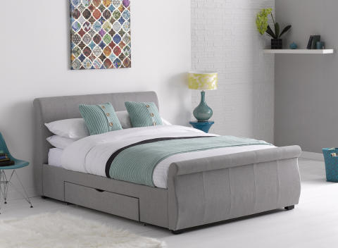dreams lucia fabric bed frame in light grey drawer closed