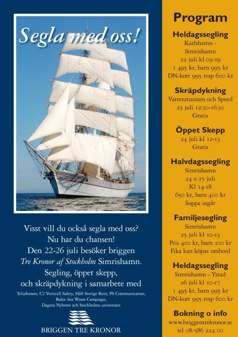 Program Briggen Tre Kronor i Simrishamn 22-26 juli 2012