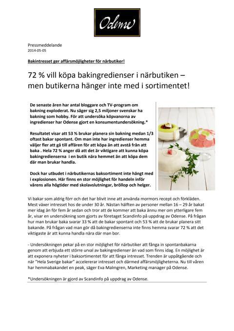 Pressmeddelande om undersökningar av köpvanor vid bakning.