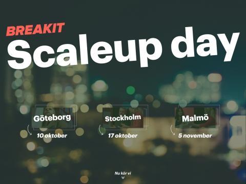 Affärssajten Breakit anordnar Scaleup day - med fokus på hur man går från startup till scaleup