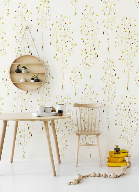 Apple Berry Off White Photowall