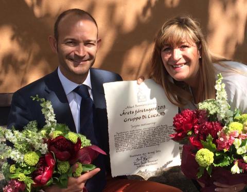Christian och Gabriella Di Luca tar emot utmärkelsen Årets Företagare
