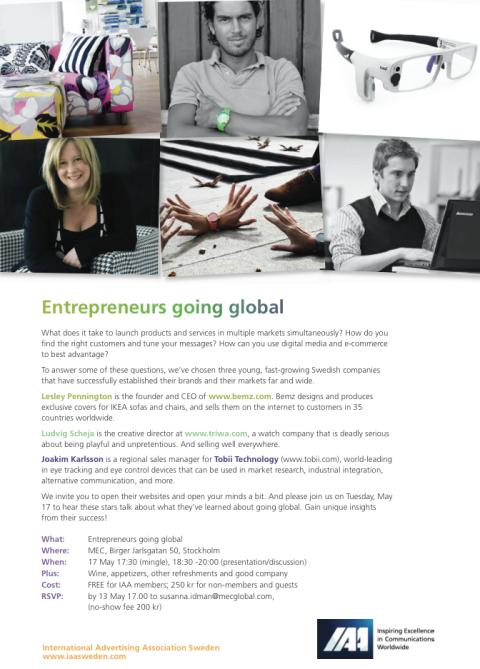 IAA Sweden seminar-mingle: Entrepreneurs Going Global