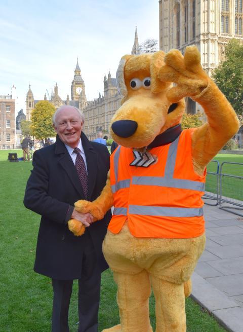 Horace with (Baron) Neil Kinnock - former EU commisoner for road safety outside Parliament - SaveKidsLives