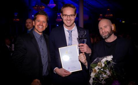 Årets Start Up blev Centropy. På bild Göran Carlson, Jesper Eman och Fredrik Högberg.
