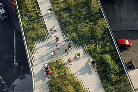 The High Line is a public park built on a historic freight rail line elevated above the streets on Manhattan's West Side.
