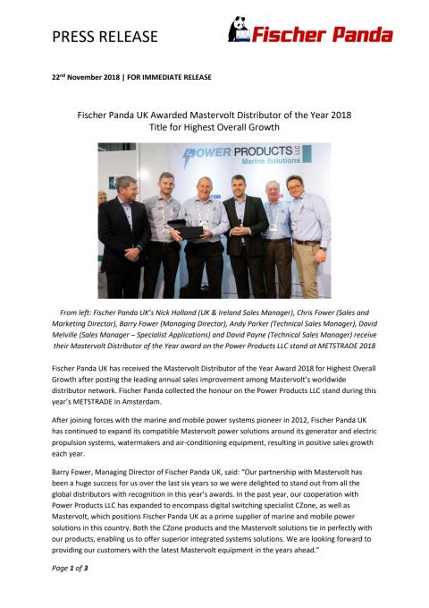 Fischer Panda UK Awarded Mastervolt Distributor of the Year 2018 Title for Highest Overall Growth