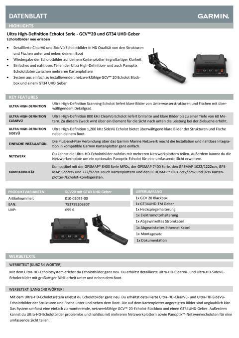 Datenblatt Garmin Ultra HD Echolot
