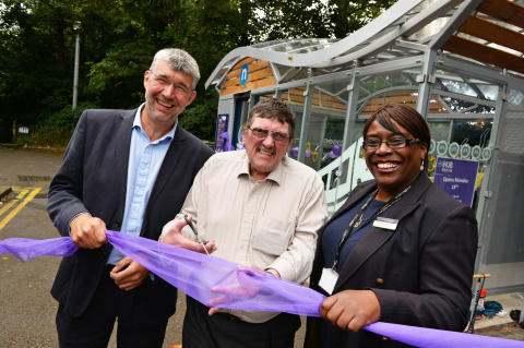 Conrad Jones, Centro's head of sustainability, Cllr Roger Horton, Centro's lead member for rail and Brenda Lawrence, London Midland's head of route for Snow Hill lines cut the ribbon to open the Cycle Hub.