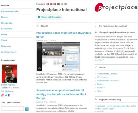 Projectplace nominated to Press room of the Year 2010