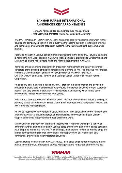 YANMAR MARINE INTERNATIONAL Announces Key Appointments