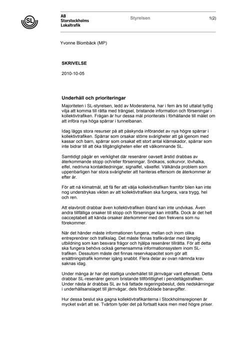 Skrivelse: SL:s styrelse förslag till omprioritering 2010-10-05